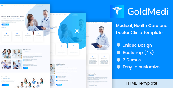 GoldMedi - Medical, Health Care and Doctor Clinic Template - Business Corporate