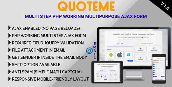 QuoteMe Multi Step PHP Working Multipurpose Ajax Form - CodeCanyon Item for Sale