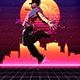 Animated 80's Synthwave Poster - Photoshop Action - GraphicRiver Item for Sale