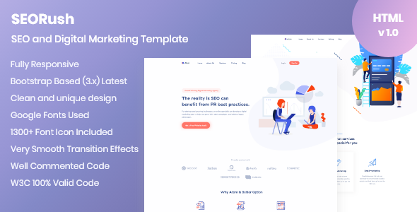 Wondrous SEORush – Digital Marketing and Software Consulting Template