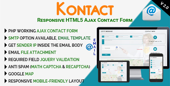Download] Kontact - Responsive HTML5 Ajax Contact Form Nulled