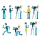 Vector Man Video Reporter Camera Interview - GraphicRiver Item for Sale