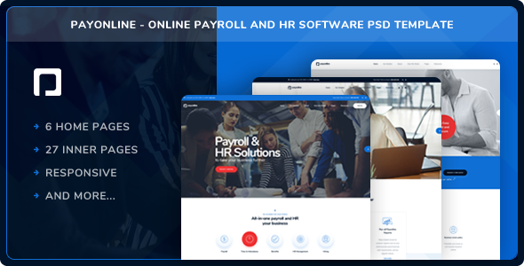Payonline - Online Payroll and HR Software PSD Template - Business Corporate