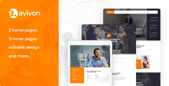 Avivon - Pure Business Consulting & Finance PSD Template