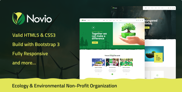 Novio - Ecology & Environmental Non-Profit Organization HTML5 Template - Environmental Nonprofit