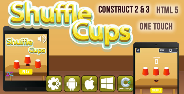 Shuffle Cups - HTML5 Game (CAPX)