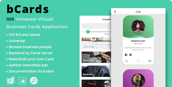 bCards | iOS Universal Virtual Business Cards Application - CodeCanyon Item for Sale