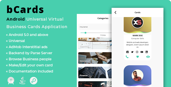 bCards | Android Universal Virtual Business Cards Application - CodeCanyon Item for Sale