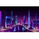 Vector Neon Megapolis on Water Yacht Regatta - GraphicRiver Item for Sale