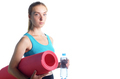 Beautiful caucasian woman holding water bottle while holding yog - PhotoDune Item for Sale