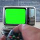 Man Turning On Old Tv Green Screen in Classroom. - VideoHive Item for Sale