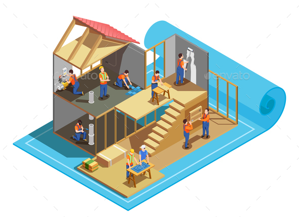 Construction Workers Isometric Composition