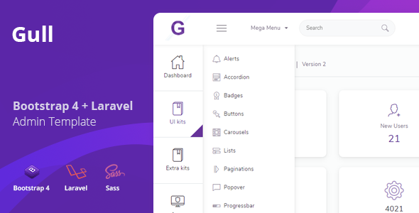 Gull - Bootstrap + Laravel Admin Dashboard Template