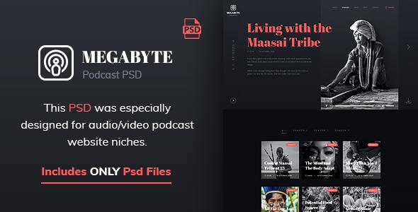 Megabyte - Audio Podcast PSD Template