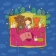 Cartoon Girl Sleeping in Bed. Baby and Toys - GraphicRiver Item for Sale
