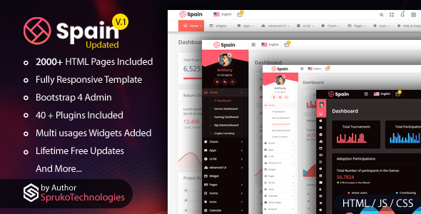 Spain –  Bootstrap4 Admin Dashboard  Responsive Multipurpose Template by SprukoSoft