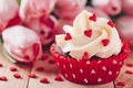Chocolate cupcake with vanilla cream and red sugar hearts for Valentine's Day - PhotoDune Item for Sale