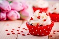 Chocolate cupcakes with vanilla cream and red sugar hearts for Valentine's Day - PhotoDune Item for Sale