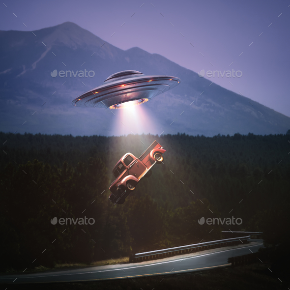 Unidentified Flying Object Alien Abduction Clipping Path - Stock Photo - Images