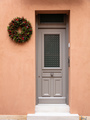 Christmas wreath decoration. Wooden entrance door in old town of Plaka, Athens Greece. - PhotoDune Item for Sale