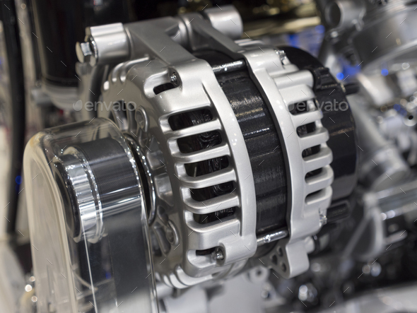 Close up detail of tuned car engine - Stock Photo - Images