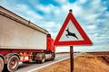 European road caution sign deer crossing - PhotoDune Item for Sale