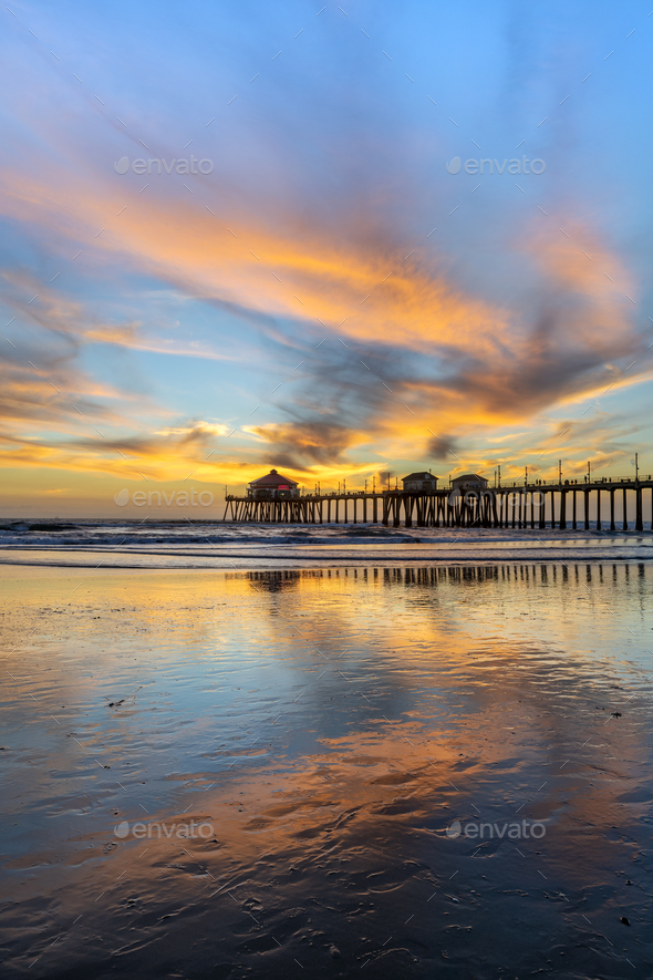 Huntington Beach pier at sunset - Stock Photo - Images