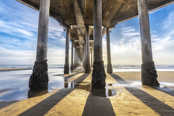 Underside of Huntington Beach pier - Stock Photo - Images