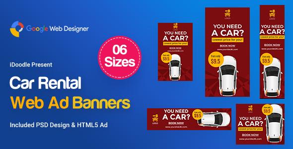 Car Rental HTML5 Banners Ad - GWD & PSD