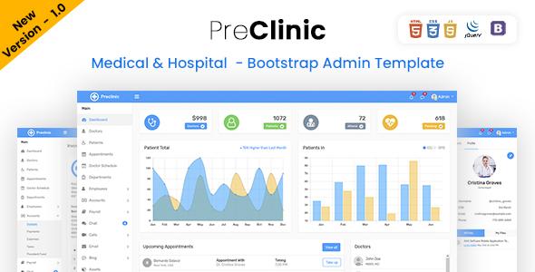 Preclinic - Medical & Hospital - Bootstrap 4 Admin Template
