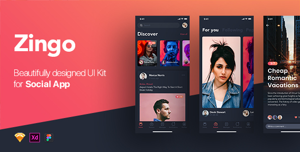 ZINGO - Social UI Kit for Mobile App