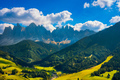 Funes Valley aerial view and Odle mountains, Dolomites Alps, Ita - PhotoDune Item for Sale