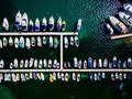 Aerial view of boats lined up on the piers at a marina. - PhotoDune Item for Sale