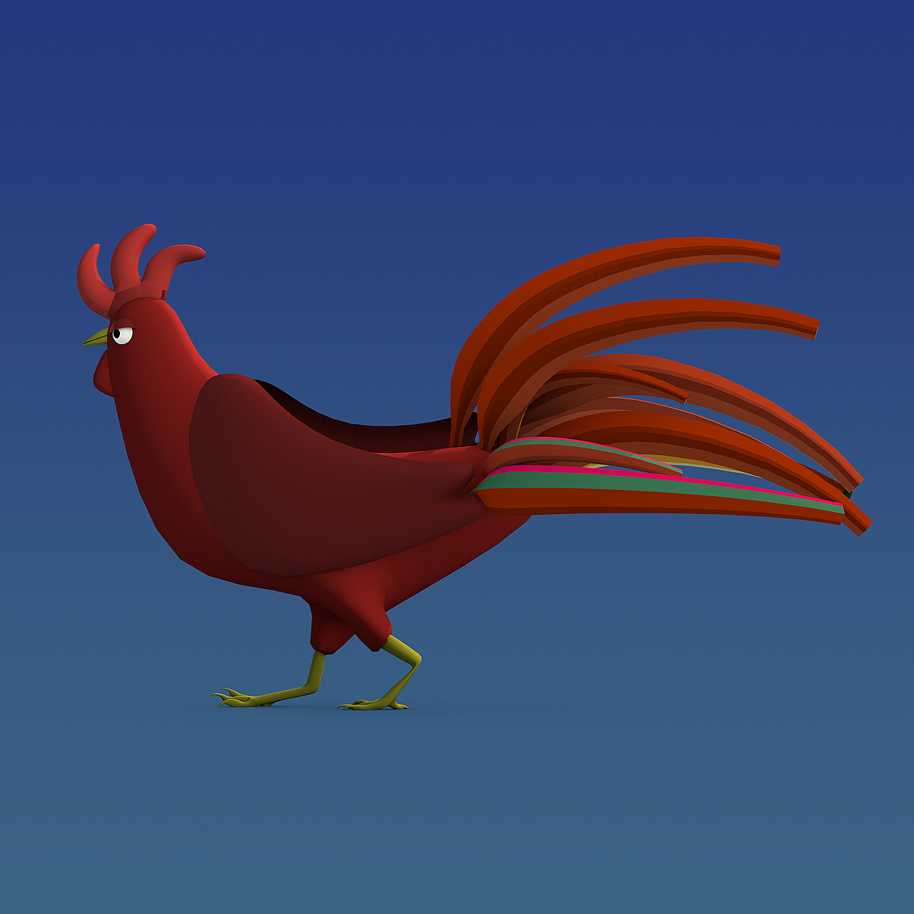 Rooster Rigged 3D Model