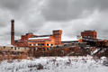 Old ruined factory construction in winter time - PhotoDune Item for Sale