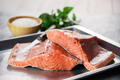 Fillet of salmon fish on metal plate closeup - PhotoDune Item for Sale