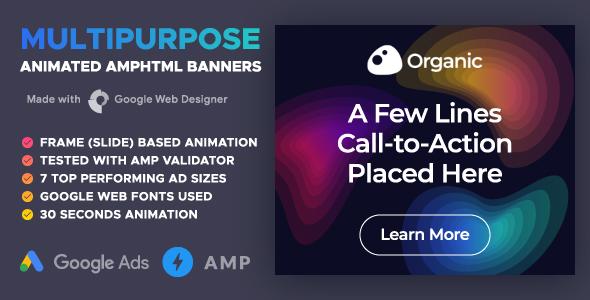 Organic - Animated AMPHTML Banners (GWD, AMPHTML)