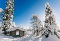 Winter snow covered wood hut. Frozen log cabin in Finland - PhotoDune Item for Sale