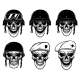 Set of Soldier Skulls in Paratrooper Beret - GraphicRiver Item for Sale