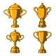 Set of Winner Cups in Engraving Style - GraphicRiver Item for Sale
