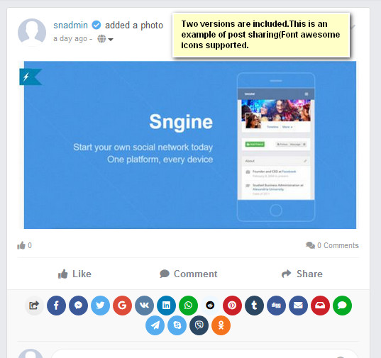 Advanced Social Sharing Pro For Sngine - 2