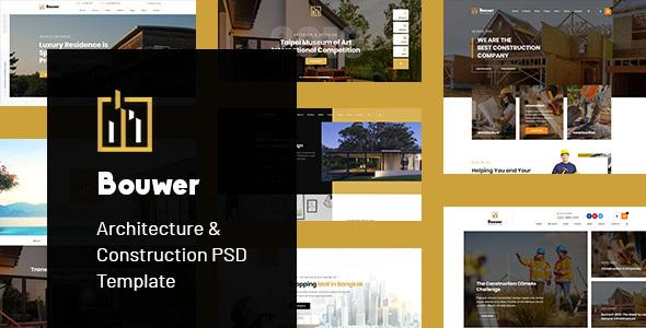 Winsfolio的建筑和施工PSD模板