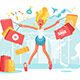 Cartoon Happy Blonde with Shopping Bags - GraphicRiver Item for Sale