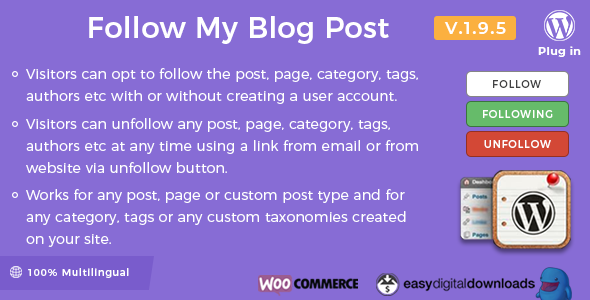 Follow My Blog Post - WordPress Plugin - CodeCanyon Item for Sale