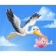 Stork Cartoon Pregnancy Myth Bird With Baby Girl - GraphicRiver Item for Sale