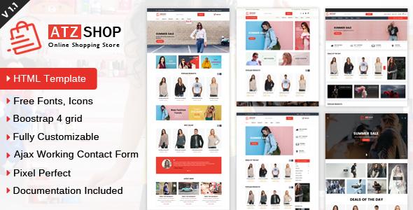 Atz Shop Online Shopping Store Html Template By Anilz Themeforest