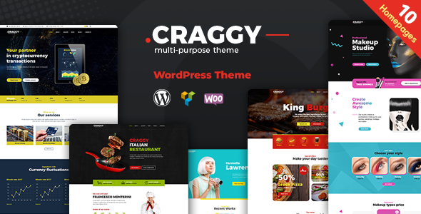 Craggy - Food Delivery, Services & Bitcoin Crypto Currency Multi-purpose WordPress Theme - Corporate WordPress