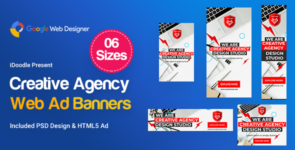 Creative, Startup Agency Banners HTML5 D37 - GWD & PSD