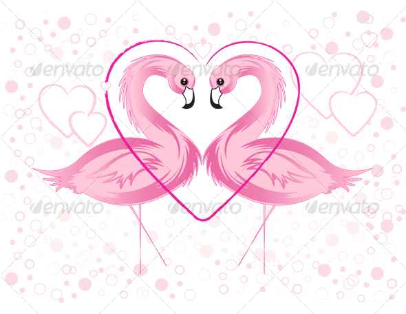 Valentine's day flamingo - Animals Characters