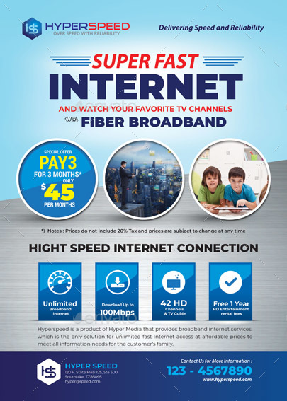 Unlimited Broadband Internet Flyer By Tholai Graphicriver